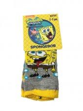 Spongebob Lisanslı Çoçuk Çorabı 2 3 Yaş Gri