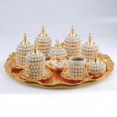 Inci Süslemeli 6 Kişilik Kahve Seti (Tepsi Ve Lokumluk Hediye) (Gold)