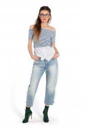 Diana Mavi Çizgili Beyaz Kısa Kollu Bluz