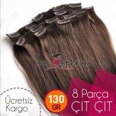 Kahverengi Karamel Renk Gerçek Çıtçıt Saç 1. Kalite