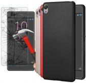 Sony Xperia Xa Silikon Sert Rubber Kılıf + Kırılmaz Cam
