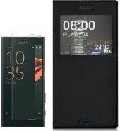 Sony Xperia Xz Kılıf Pencereli Siyah Kırılmaz Cam Hediye