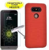 Lg G5 Kılıf Kırmızı Silikon Youyou Kırılmaz Cam Hediye