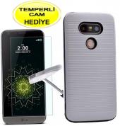 Lg G5 Kılıf Gümüş Silikon Youyou Kırılmaz Cam Hediye