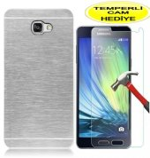 Samsung A3 2016 Kılıf Gümüş Motomo Metal Kırılmaz Cam