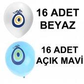 32 Adet Açık Mavi Ve Beyaz Nazar Boncuklu Balon Süsleme Paketi