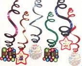 6 Adet 1 Yaş Mavi Sarkıt Spiral Tepe Süs Yatay Doğumgünü Parti Er