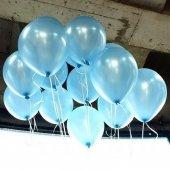 40 Adet Metalik Sedefli Açık Mavi Balon Doğum Günü Helyumla Uçan