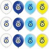 128 Adet Nazar Boncuk Baskılı Karışık Balon 12inç Ücretsiz Kargo