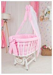 Bebekonfor Pembe Puantiyeli Uyku Setli Beyaz Ahşap Sepet Bebek Beşiği