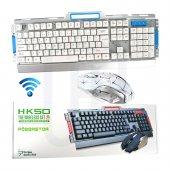 Kablosuz 2.4g Metal Oyuncu Gaming Wireless Klavye Mouse Seti Ofis Oyun