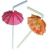 50 Adet Renkli Şemsiye Pipet Parti Malzemesi