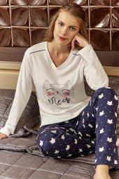 Eros 20604 İnterlok V Yaka Kedili Bayan Pijama Takımı