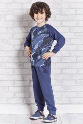 Roly Poly 10 16 Yaş Mavi Kamuflajlı Garson Boy Erkek Çocuk Pijama