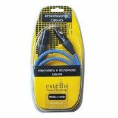 Estello E2002c Mavi 6m Pvc & İp Örgü Kaplama Jack Xlr Dişi Mi