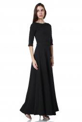 Siyah Fakir Kol Maxi Uzun Bayan Elbise