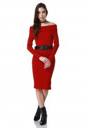 Kırmızı Madonna Yaka Midi Bayan Elbise
