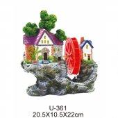 King Akvaryum Dekoru Çarklı Kayalıklı Ev 20.5x10.5x22cm