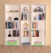 Nur Mobilya 3&#039 Lü Kitaplık Arkalıklı Model Beyaz