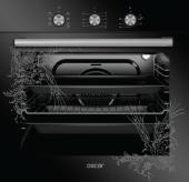 Oscar 8063 Tezhip Desenli 8 Program Siyah Cam Elektro Turbo Fırın
