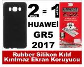 Huawei Gr5 2017 Rubber Lüks Silikon Kılıf+kırılmaz Cam Ekran Koru