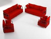 Wood House Ahsen Oturma Grubu Kırmızı