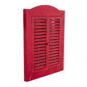 Home Stuff Kırmızı Ahşap Panjur Ayna 40x3x53 Cm