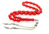 Frilly Kırmızı Sıkma Ateş Kehribar Tesbih (Tsk104)
