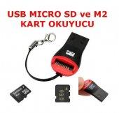Usb Kart Okuyucu Yazıcı Mikro Adaptör 2gb 4gb 8gb 16gb Sd M2