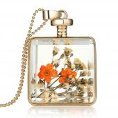 Frilly Cam Çerçeve Kuru Çiçek Kolye (Fkk685)