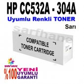 Hp Cp2025 Cm2320 Sarı Muadil Toner Cc532a 304a