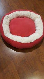 Bedspet Simit Kedi Köpek Yatağı Fuşya Ekru
