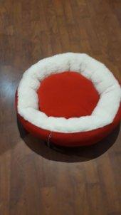 Bedspet Simit Kedi Köpek Yatağı Kırmızı Ekru