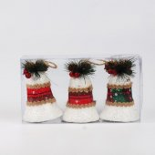 3lü Lux Köpük Çan Yılbaşı Ağacı Süsü Beyaz