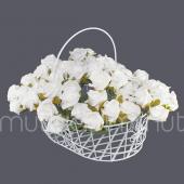 Saplı Beyaz Metal Sepette 10 Demet Beyaz Çiçek