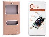 Lg G5 Altın Kılıf Kapaklı + Cam