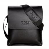 Polo Vıcuna Erkek Siyah Deri Evrak Çantası Omuz Askılı