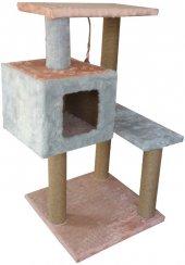 Catia 3 Katlı Kare Yuvalı Kedi Tırmalama 50 40 96 Cm Gri Pembe