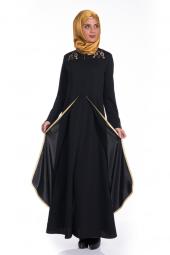 Modaverda Ferace Omuz Ve Kol İşlemeli Siyah Renk