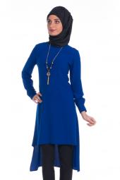 Modaverda Bayan Kolyeli Uzun Tunik Saks Mavi Renk