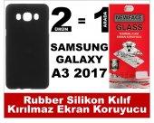 Samsung A3 2017 Rubber Lüks Silikon Kılıf+kırılmaz Cam Ekran Koru