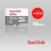 Sandisk 32gb Micro Sd Hafıza Kartı Ultra 80mb S Sdsquns 032g Gn3m