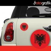 Otografik Arnavutluk Bayrağı Arma Oto Stıcker (1 Çift)