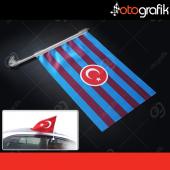 Otografik Bordo Mavi Taraftar Bayrağı Oto Bayrak