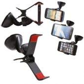 Kıskaçlı Vantuzlu Araç İçi Telefon Tutucu (2 Alana 1 Adet Hediye)