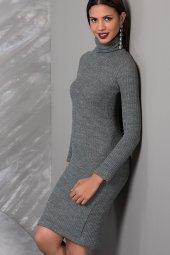 Kadın Boğazlı Gri Elbise