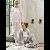 Feyza 3104 Bayan 3lü Polar Pijama Takım