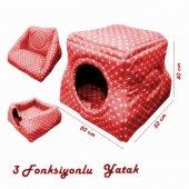 Kedi Köpek Kulübesi Puantiye Desenli Kırmızı � 50� 50*40 Cm