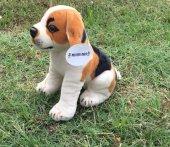 40cm Oturan Köpek Gerçek Yüzlü Peluş Oyuncak Kaliteli Sağlıklı