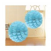 Decoratıon Puff Mavi 30 Cm 2li